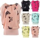 WOMEN LADIES BUTTERFLY PRINT SLEEVELESS DRESS VEST TOP SIZE 6, 8-10, 12-14