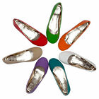 WOMENS LADIES PATENT FLAT DOLLY BALLET PUMPS CASUAL SHOES UK SIZE 3-8
