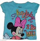 Official Licensed Disney Minnie Mouse Happy 2 Be Me T-Shirt Toddler Blue
