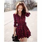 NEW Fashion Women Casual Long Sleeve Plaid Evening Party Cocktail Mini Dress