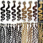 "20"" MICRO BEAD/LOOP WAVY 100% Human Remy Hair extensions in 8 colours 50g 100s"