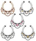 New Fake Cheater Non-Piercing Round Floral CZ Gem Septum Nose Ring