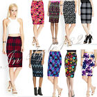 Sexy Women Office Ladies Pencil Bodycon Midi Skirt Printed Stretchy Skirts Tube