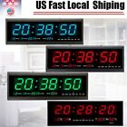 Digital Large Big Jumbo LED Wall Desk Alarm Clock With Calendar Temperature US