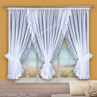 AMAZING WHITE OR ECRU VOILE NET CURTAINS WITH FLOUNCE HAND MADE LUXURY FOR YOU