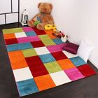 Children Bedroom Floor Rug Colorful Rainbow Play Mat Kids Checked Thick Carpet