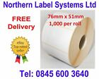 76mm x 51mm WHITE Direct Thermal Labels 1,000 per roll for Datamax Label printer