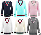 A45 Womens Cable Knitted Long Sleeve Cricket Jumper V Neck Pullover Sweater Top