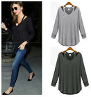 New Ladies Womens T Shirt Solid Long Sleeve Blouse Casual Tops Shirt Casual Tee