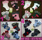 BABY Anti-Slip Socks 4 Pk Sox - GRIP SOLE Sz 6-12m or 12-24m Cute Boy & Girl NEW