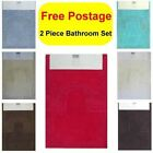 Mary 100% Cotton Bath Mat Rug & Pedestal Mat 2 Piece Bathroom Set