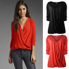New Sexy Womens Casual Loose Zipper V-Neck Tops Long Sleeve Shirt Blouse 3Colors