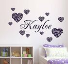 Zebra Pattern Hearts Wall Decal 12 & Personalized Name & Vin