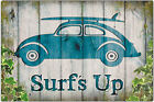 VW Volkswagen Beetle Surf's Up Metal Sign