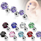 Surgical Steel Ear Cartilage Tragus Barbell Stud with Round CZ