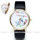 """Unisex Funny """"Whatever, I'm late anyway"""" PU Leather Band Cuff Quartz Wristwatch"""