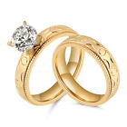 Women's Stainless Steel Gold Cut CZ Wedding Engagement Rings Band Set Size 7 8 9