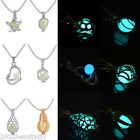 New Fashion DIY Silver Plated Fluorescent Light Blue Pendant Necklace For Women