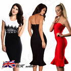 UK Sexy Womens Bodycon Cocktail Lace Dress Ladies Evening Party Dress Size 8-14