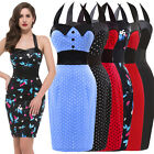 Promotions WOMEN Halter VINTAGE 50's STYLE POLKA DOT CHERRY PENCIL WIGGLE DRESS