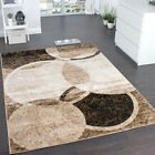 Modern Designer Rug Living Room Mat Circular Design Carpet in Brown Beige...