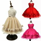 Children Girl Princess Flower Lace Bowknot Belted Dress Wedding Birthday Party