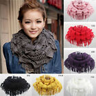 Women Warm Infinity 2 Circle Cable Knit Cowl Neck Tassel Scarf Shawl Winter 40