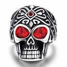 Geminil Men's Punk Retro Gothic Biker Stainless Steel Skull Evil Eye Ruby Ring