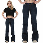 New Ladies Womens Dark Blue 60s 70s Retro Bell Bottoms Flares Wide Flared Jeans