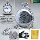 HELVETIA Silver SWISS Movement Mens Quartz Pocket Watch Gift Chain Wood Box P68