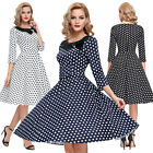 Women's 3/4 Sleeve Polka Dots Vintage Doll Collar Party Picnic Housewife Dress