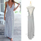 Sexy Women Summer Boho Long Black And White Striped Chiffon Dress Party Beach