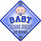 NEW ~ TINY BLUE BUBBLES  ~ Personalised Baby on Board Car Window Sign