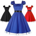 Women Swing Vintage Pin Up Cocktail Prom Dress Formal Party Housewife Size S-XL