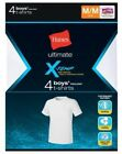 4-Pack Hanes Boys' Ultimate X-TEMP TAGLESS Crewneck T-Shirt - White - Size S-XL