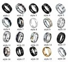 8mm Black Silver Gold Tungsten Carbide Ring Wedding Band Jewlery