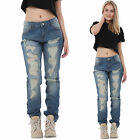 New Womens Blue Vintage Look Faded Ripped Distressed Frayed Boyfriend Jeans