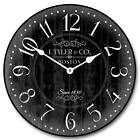 Harbor Black LARGE WALL CLOCK 10- 48 Whisper Quiet Non-Ticking WOOD HANDMADE