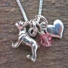 French Bulldog Mini Heart Sterling Silver Necklace (JNDP7) NEW-FREE SHIPPING
