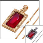 "P35 18-36""Men Stainless steel Gold Silver Ruby Rick Ross Chain Necklace Link"