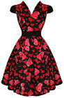 Hearts and Roses (H&R) Retro Rockabilly Pin Up Sugarbaby Dress Heart Cap Sleeve
