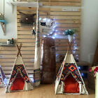 Bohemian Canvas Tent Cats Dogs Wooden Bed Pets Home Teepee W' Cushion/Home Decor