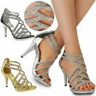 Womens Ladies Diamante Platforms Heels Bridal Sparkly Prom Caged Sandals Shoes
