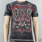 Affliction Master A7199 Men's T-shirt Tee Black Brush Bleach Wash