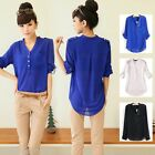 Fashion Womens Chiffon Shirt Long Sleeve V-neck Loose Top Blouse With Pocket
