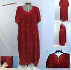 French Red Country Garden Dress SS Floral Print Crochet Detail Pockets Med & Lg