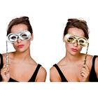 Metallic Spandex Masquerade Eyemask With Handle Fancy Dress Accessory