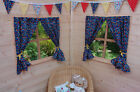 GIRLS PLAYHOUSE CURTAINS ~ BLUE FLOWER GARDEN ~ INCLUDES FITTINGS