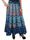 BOHEMIAN BOHO WRAP SKIRT WOMEN ETHNIC PRINT BLUE COTTON BOHO HIPPIE WRAP DRESS