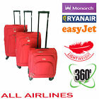 4 Wheel 360 Spinner Luggage set, Red Cabin Sized Hand Luggage Ryan air easy jet